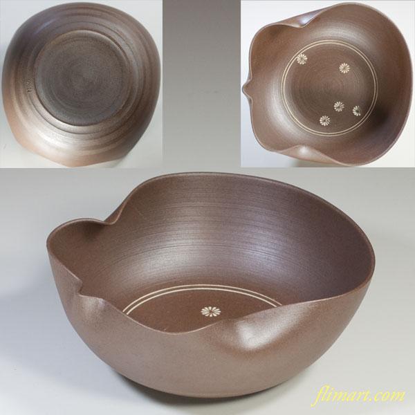 栄康朱泥瓢箪型菓子鉢