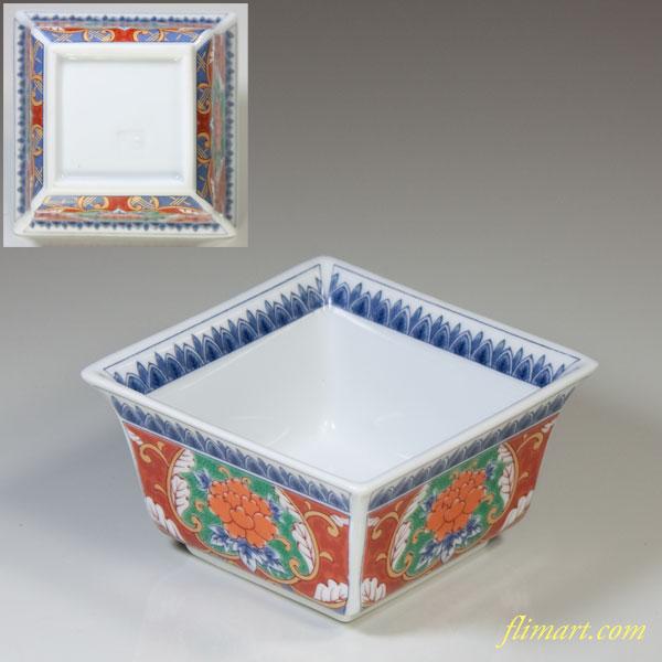 有田焼色絵牡丹角小鉢