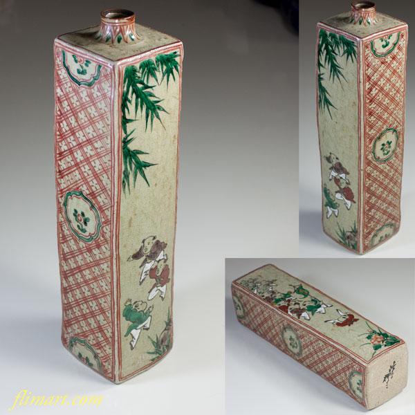 渋草柳三唐子花瓶