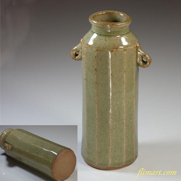 青磁耳付花瓶W3526