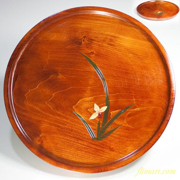 木製九寸丸盆W3556