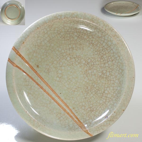 青磁六寸皿W3552