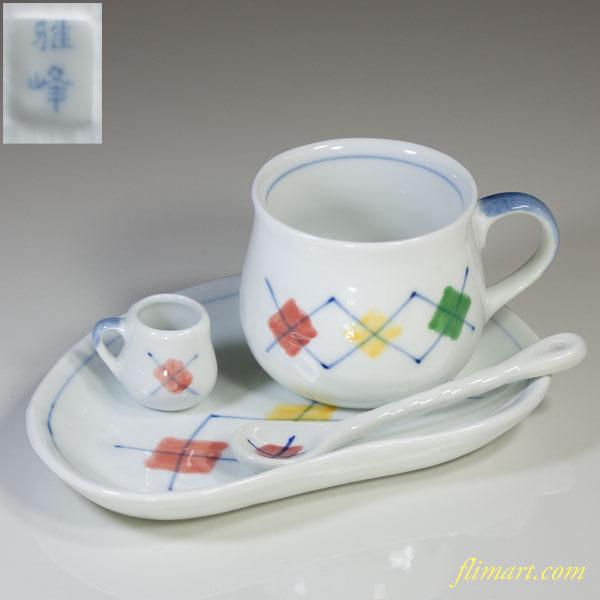 雅峰窯碗皿ミルクカップスプーン