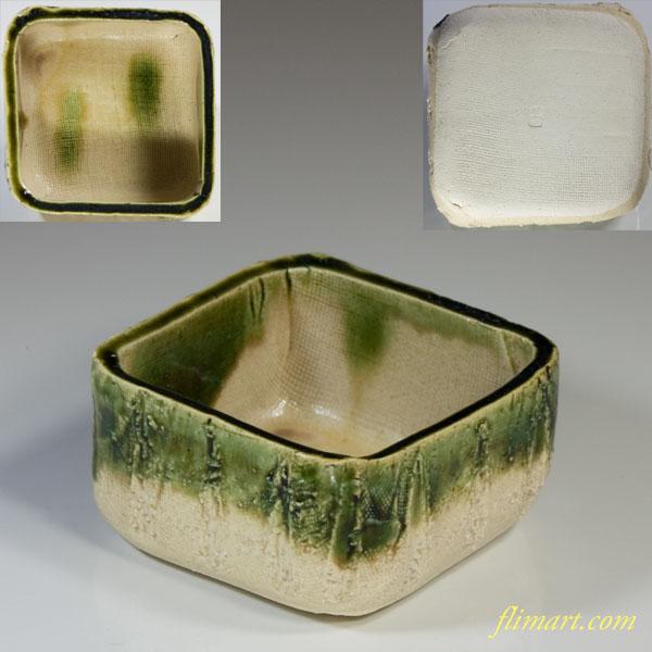 柳窯河村硯山織部角小鉢