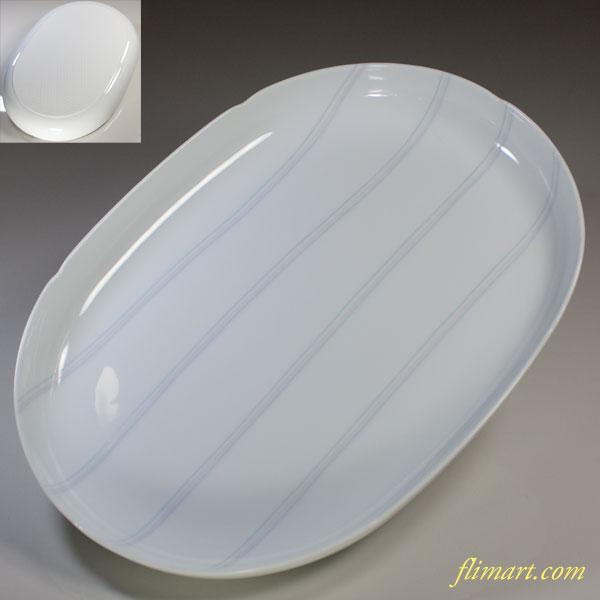 白磁淡彩長皿