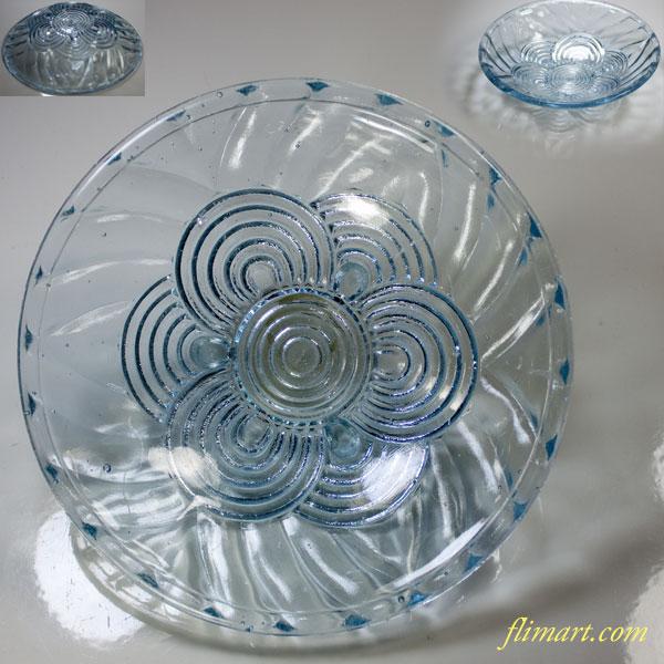 青色ガラスプレス鉢