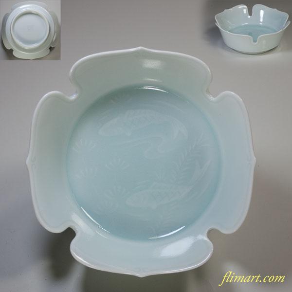有田焼藤窯青白磁双魚小鉢