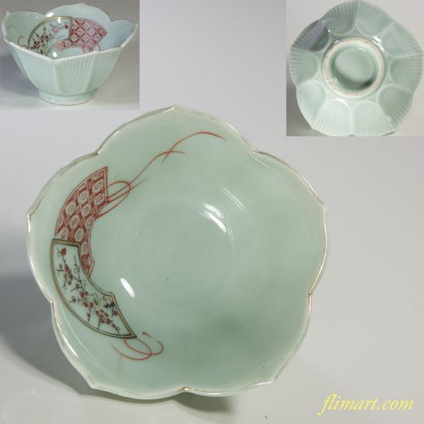 青白磁桔梗型小鉢W3714