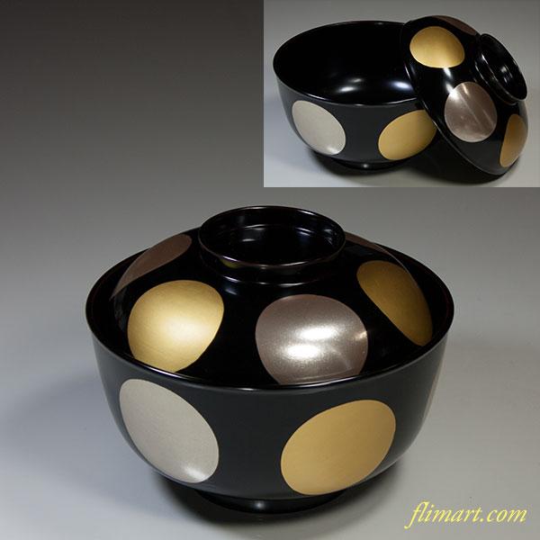 木製漆器金銀日月煮物椀