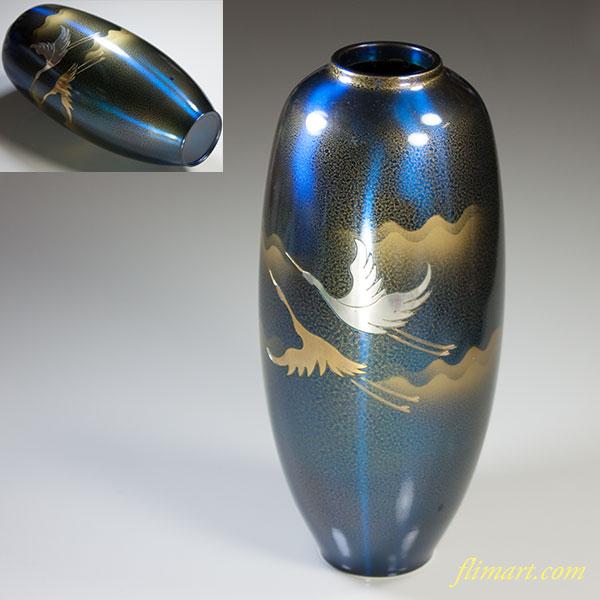 高岡銅器青銅まゆ型彫金鶴文花瓶
