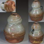 信楽焼瓢箪型壁掛花瓶