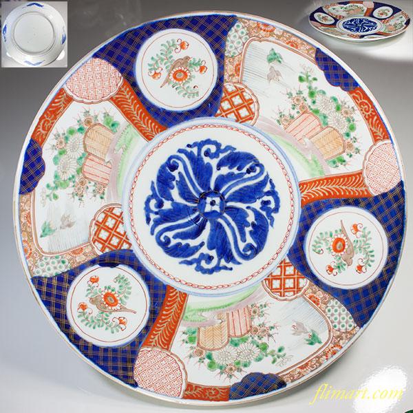 山徳窯色絵花鳥一尺二寸大皿