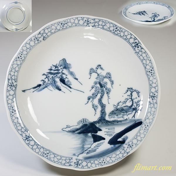 山水六寸皿W3847