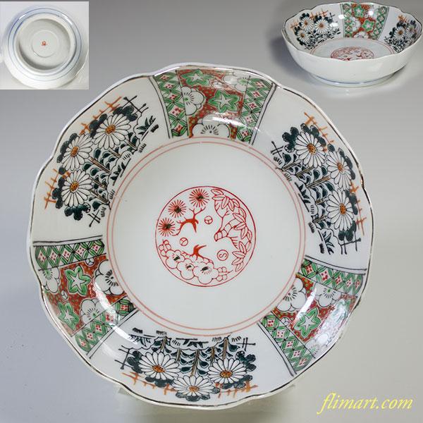 松竹梅菊梅文膾皿W3849