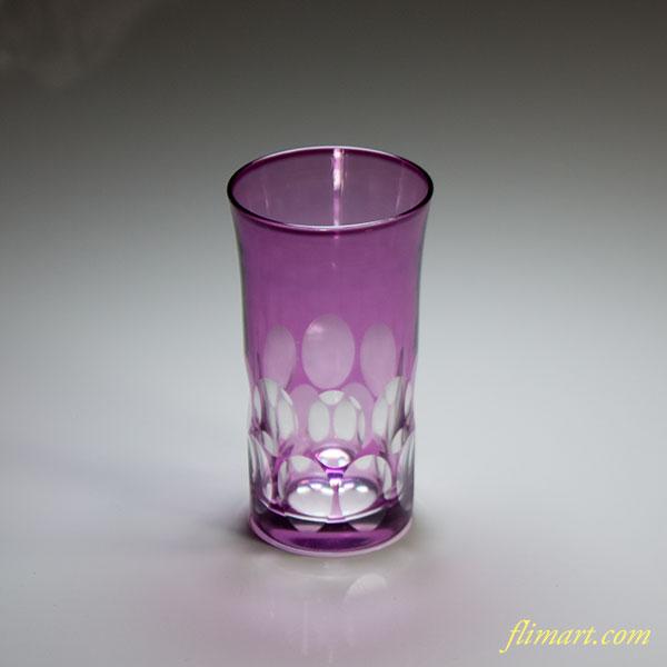 切子紫ガラスコップW4970