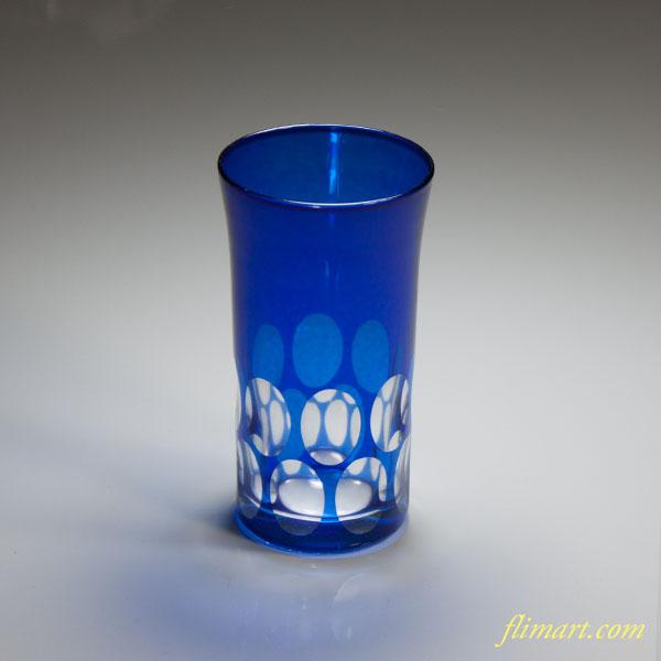 切子ガラスコップ青W3882