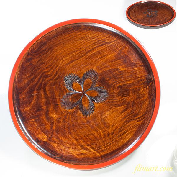 四国彫り丸盆W3902