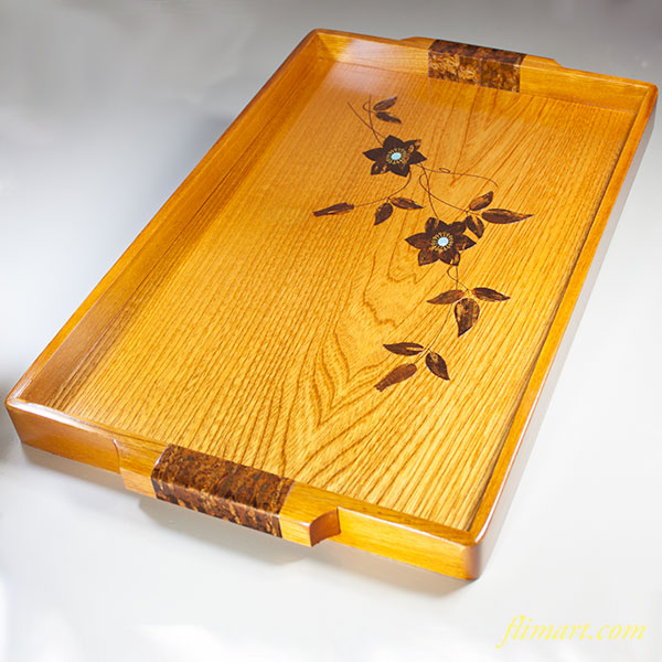 桜皮貝入鉄仙長手盆