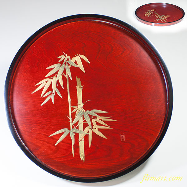 創寧工芸木製竹図丸盆