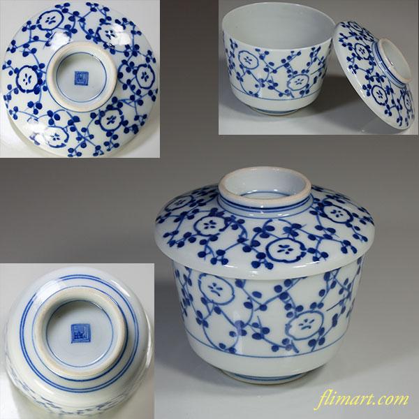 染付蓋付蒸茶碗W3938