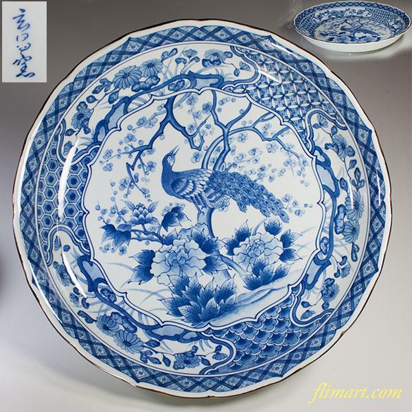玄昌窯染付孔雀一尺二寸大盛皿