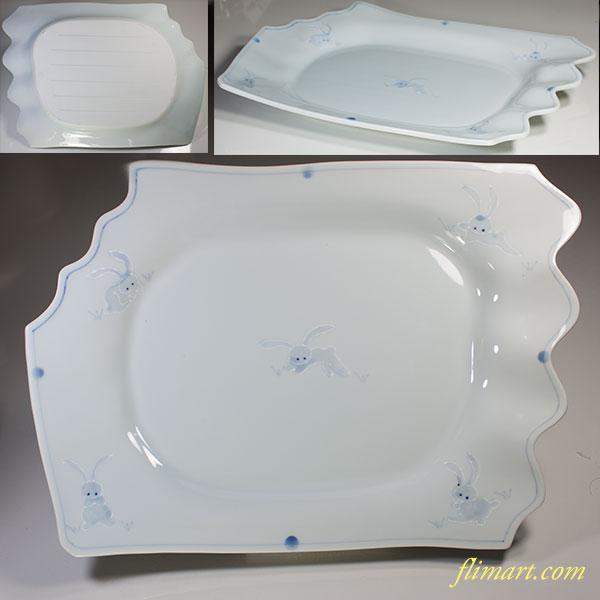 青白磁兎柄大皿