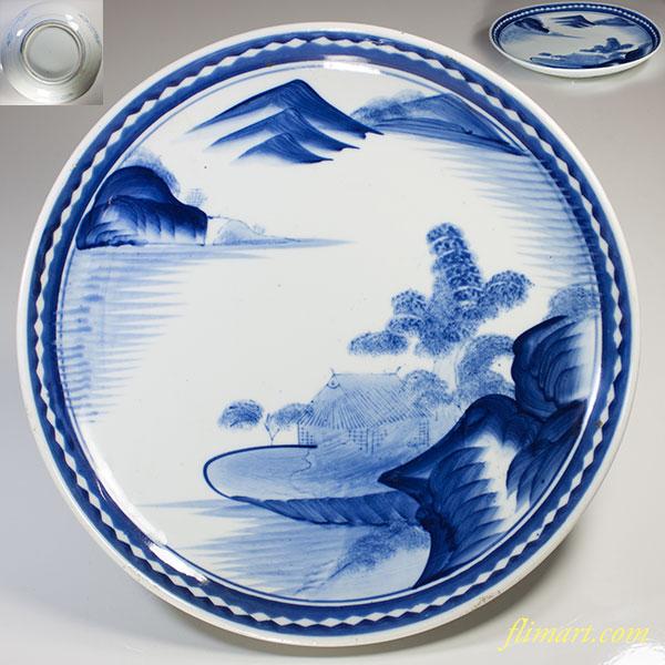 染付山水十寸大皿W3955
