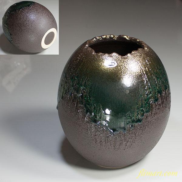 信楽焼土ごよみ金彩ケシ目花瓶