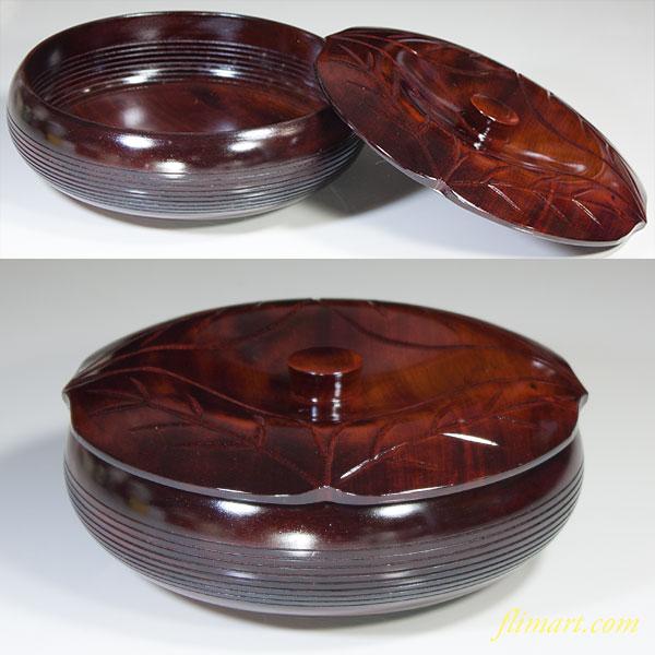 木製柿型蓋付菓子器