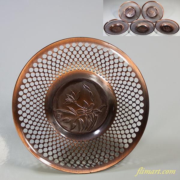 玉利休銅製茶托五枚セット