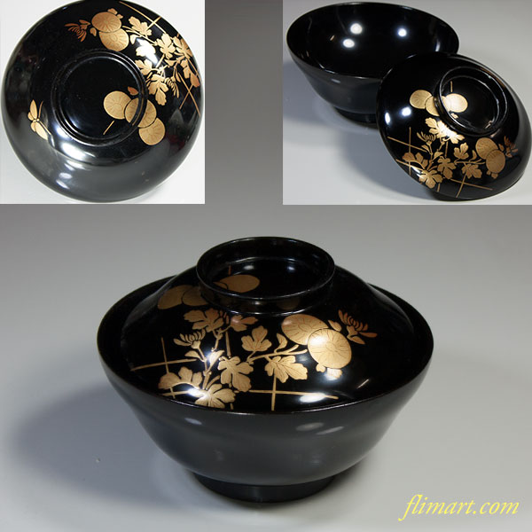 黒塗木製漆器菊金蒔絵吸物椀
