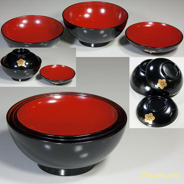 木製漆器桔梗紋入子三つ椀