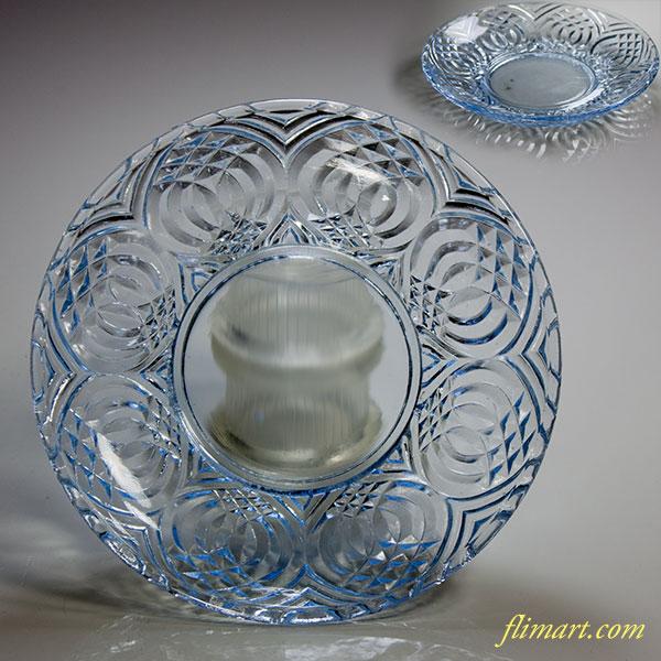 青ガラスプレス皿W4101