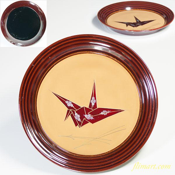 木製漆器溜塗折鶴銘々皿