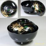 黒塗木製漆器蒔絵吸物椀