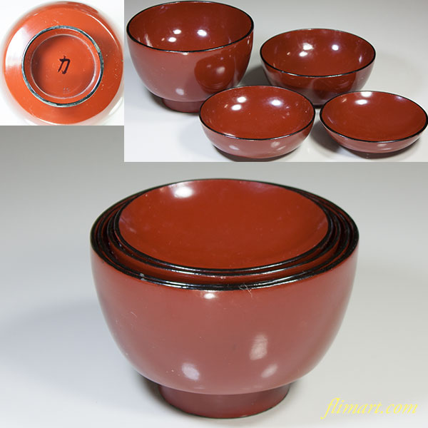 木製漆器朱塗入子四つ椀