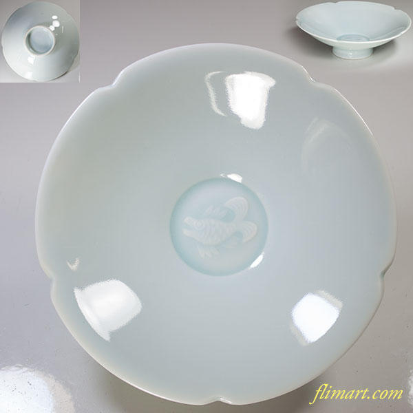 林峰青白磁輪花魚紋皿