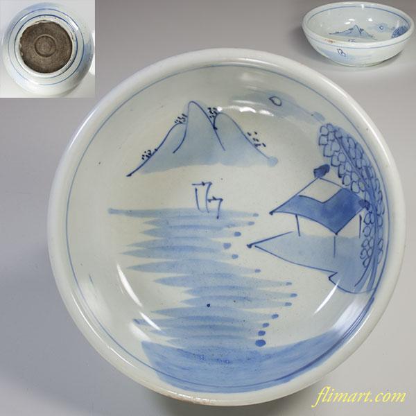 染付山水小丼六寸鉢