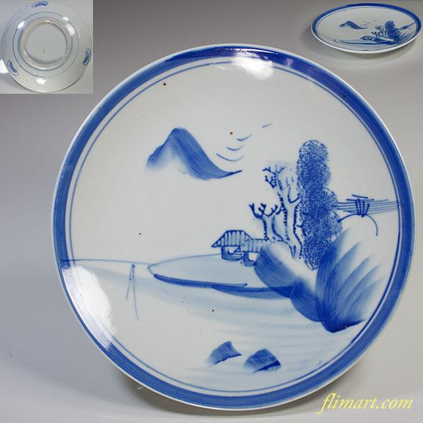 染付山水七寸皿W4138