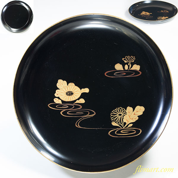 木製漆器黒塗金縁皿