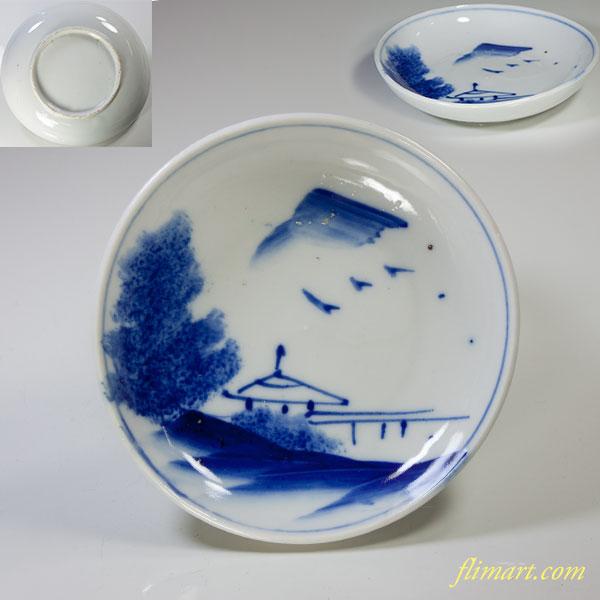染付山水小皿W4163