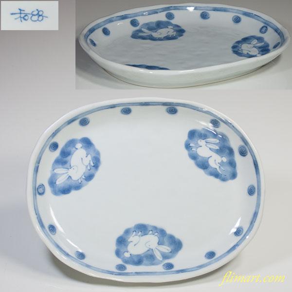 兎柄楕円皿W4168