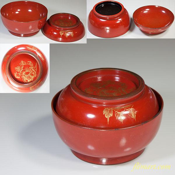 朱塗沈金菓子椀W4192
