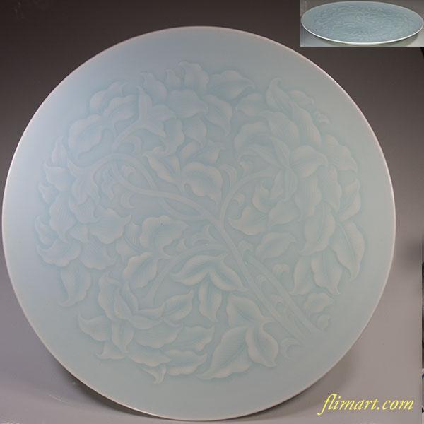 快山窯青白磁蔓唐草一尺一寸半大皿