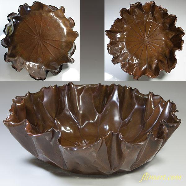 蓮葉型銅器菓子鉢