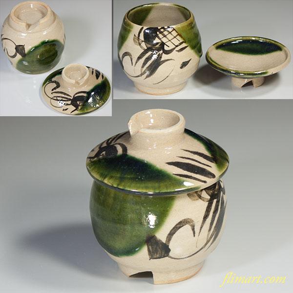 織部蓋付蒸茶碗W4247