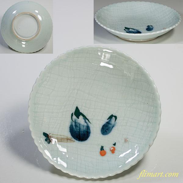 青白磁茄子小皿W4301