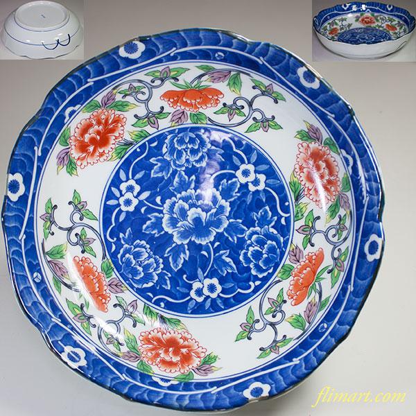 吾山窯牡丹八寸鉢