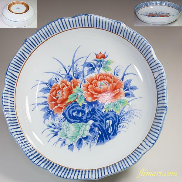 浜九郎窯牡丹八寸鉢