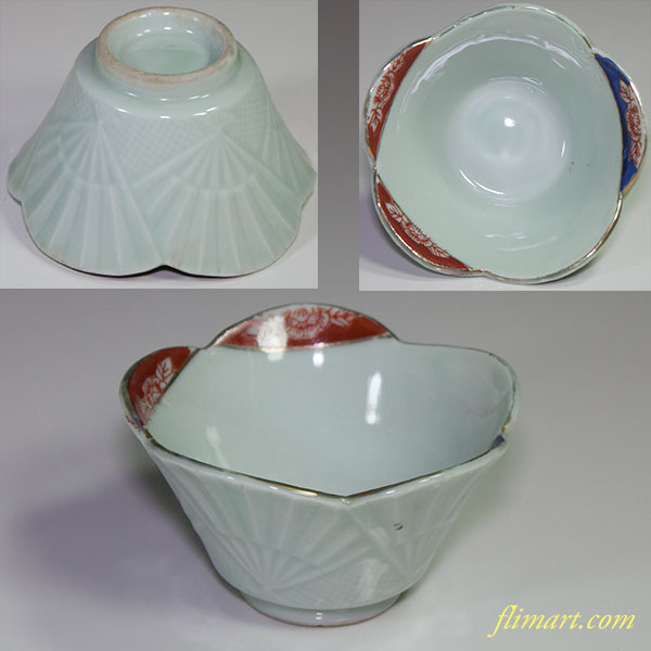 青白磁扇花型小鉢W4287